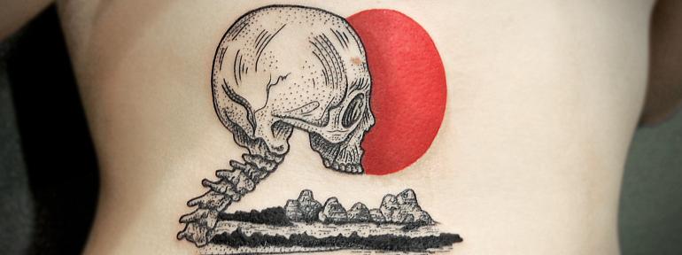 Художественная татуировка «Череп на закате» от Инессы