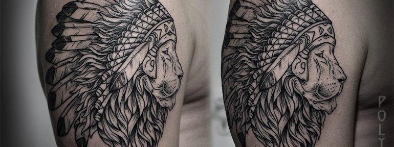 Художественная татуировка «Лев» от Юрия Полякова
