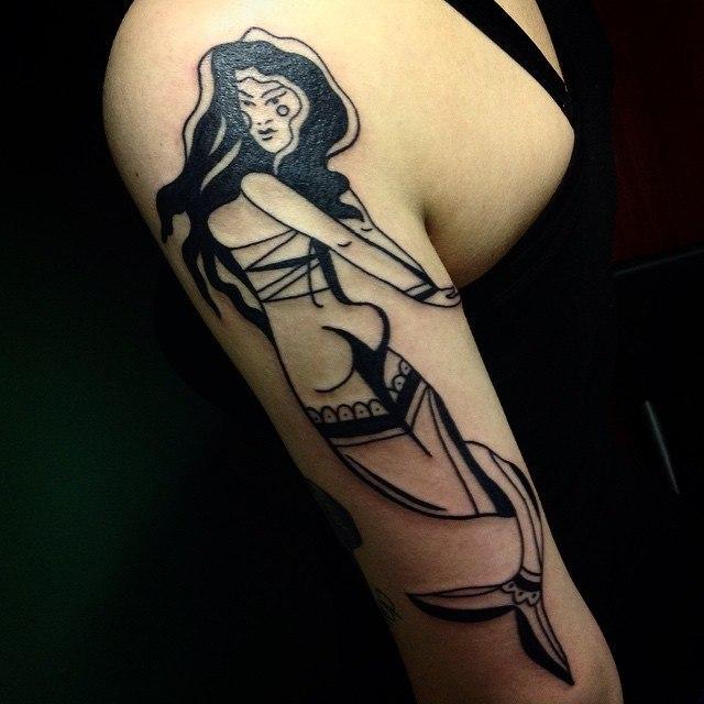 Художественная татуировка «Русалка». Мастер Таня Lika.