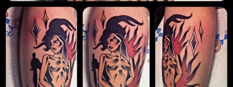 Художественная татуировка «Монашка» от Валеры Моргунова