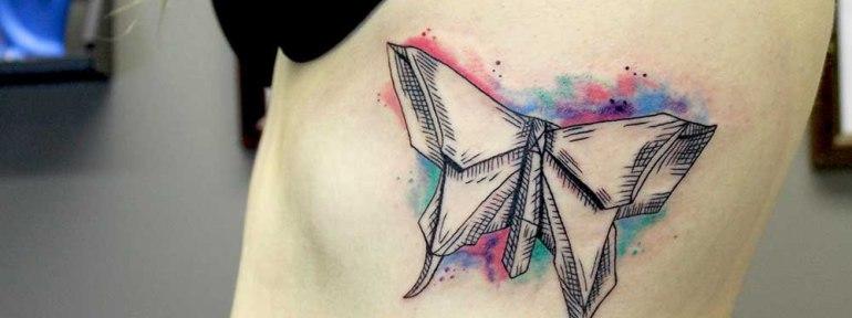 Художественная татуировка «Бабочка-оригами». Мастер Ксения Jokris Соколова.