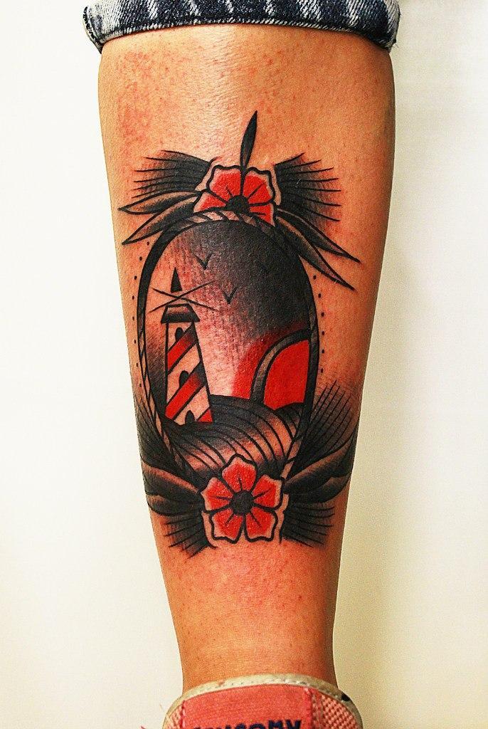 Художественная татуировка «Маяк». Мастер Вова Snoop.
