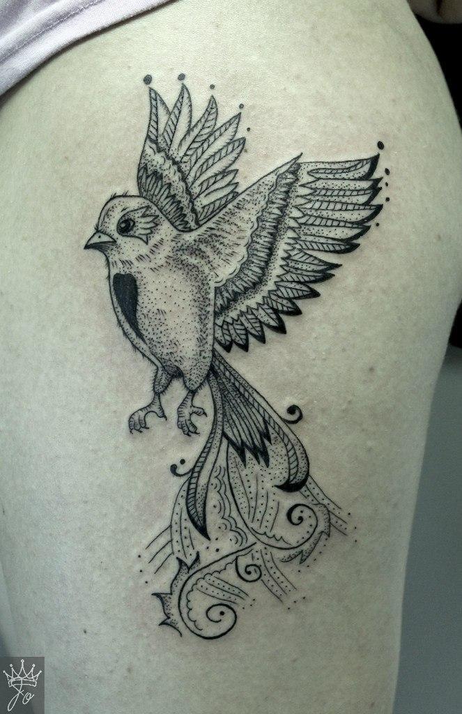 Художественная татуировка «Птица». Мастер Ксения Jokris Соколова.