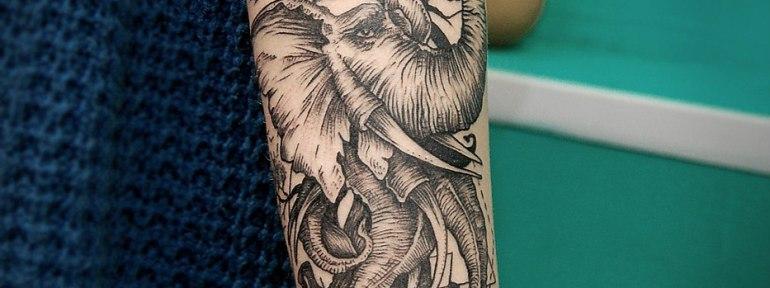 Художественная татуировка «Слон». Мастер Инесса Кефир.
