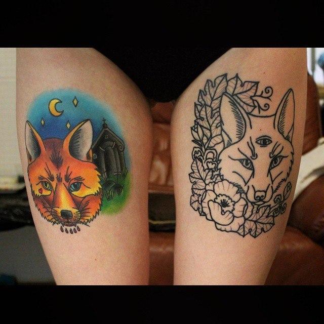 Художественная татуировка «Лиса». Начинающий мастер Настя Стриж. Работа в процессе.
