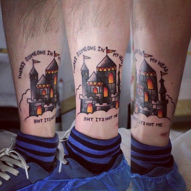 Художественная татуировка «Замок». Начинающий мастер Настя Стриж.