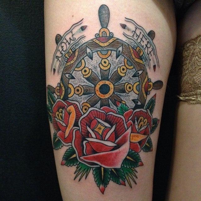Художественная татуировка «Штурвал» от Данилы-Мастера