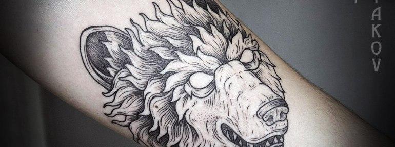 Художественная татуировка «Медведь» от Юрия Полякова