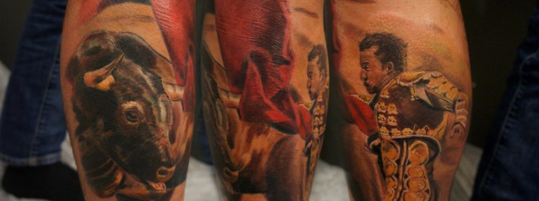 Художественная татуировка «Тореадор» от Александра Морозова