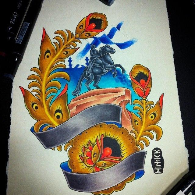 Дизайн «Санкт-Петербург» от мастера художественной татуировки Евгения Химика.