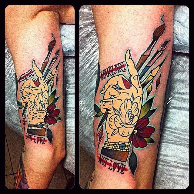 Художественная татуировка «Make art» от Валеры Моргунова