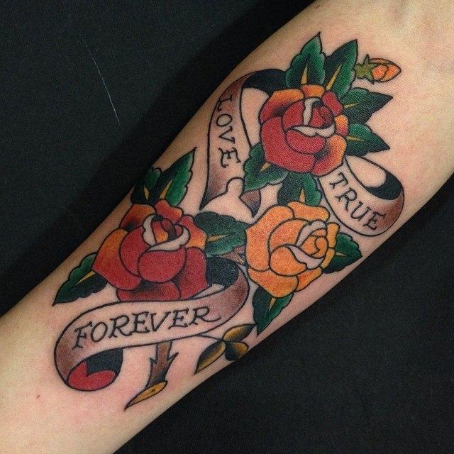 Художественная татуировка «True love forever» от Данилы-Мастера