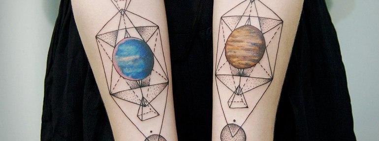 Художественная татуировка «Планеты». Мастер Инесса Кефир.