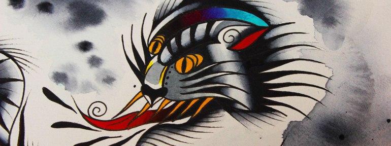 Свободный эскиз «Дикий кот» от мастера художественной татуировки Вовы Snoop'a.
