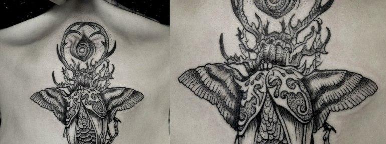 Художественная татуировка по эскизу Caitlin Hackett «Сюрреалистичный жук». Мастер Ксения Jokris Соколова.