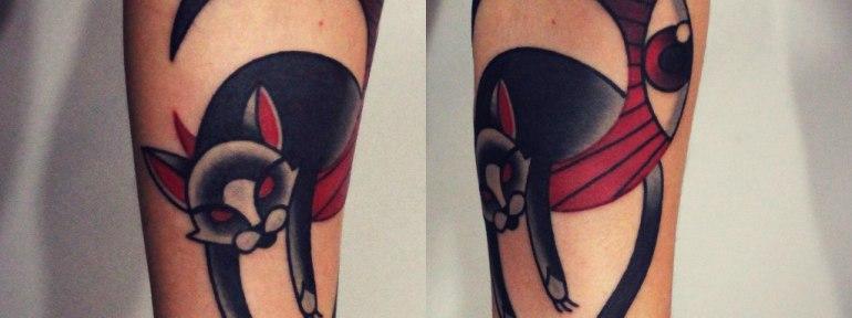 Художественная татуировка «Котик». Мастер Денис Марахин.