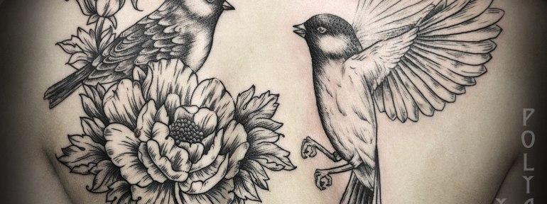 Художественная татуировка «Птицы» от Юры Полякова