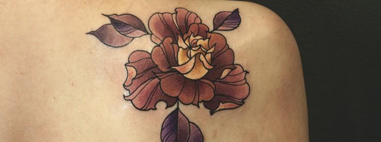 Художественная татуировка «Роза» от Валеры Моргунова