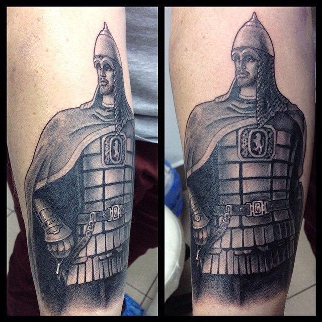 Художественная татуировка «Александр Невский». Мастер Павел Заволока.