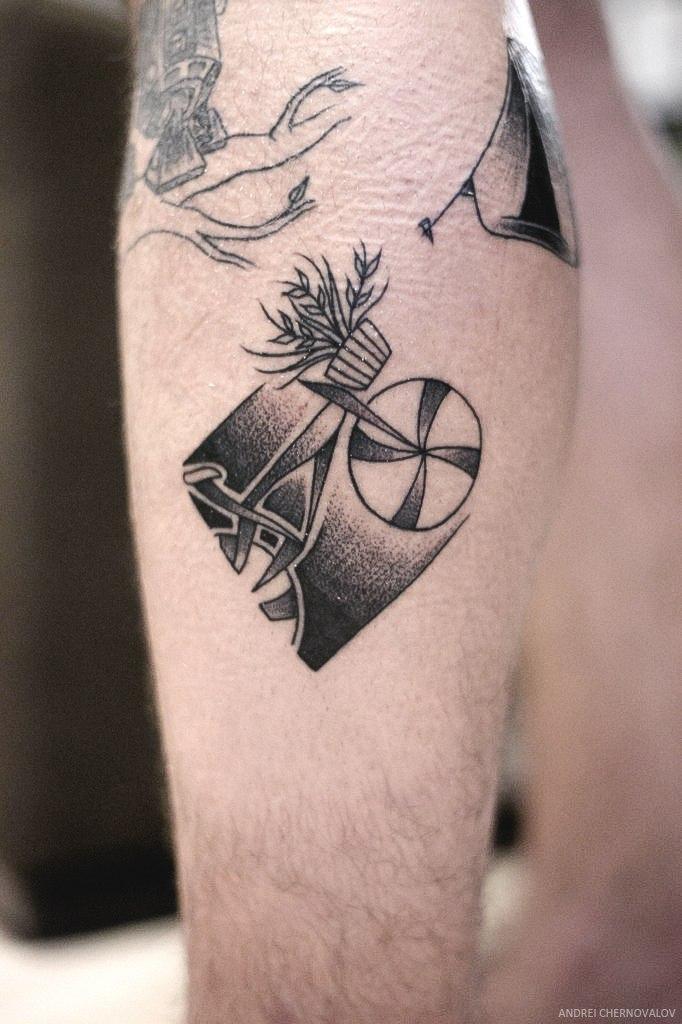 Художественная татуировка «Велосипед» от Андрея Черновалова