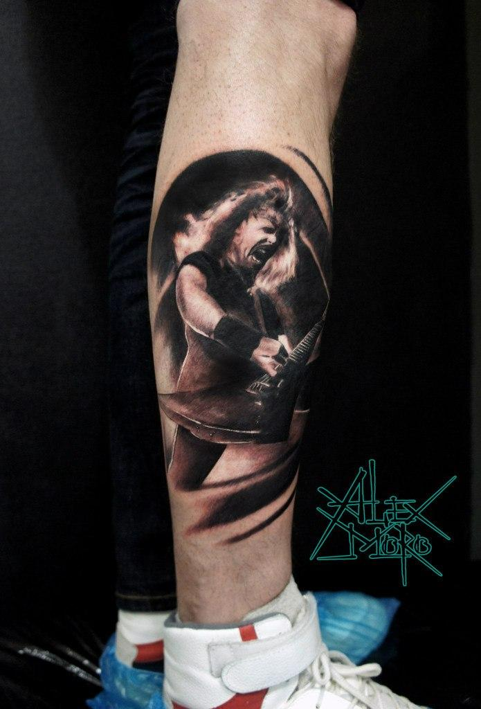 Художественная татуировка «Портрет Джеймса Хетфилда» от Александра Морозова