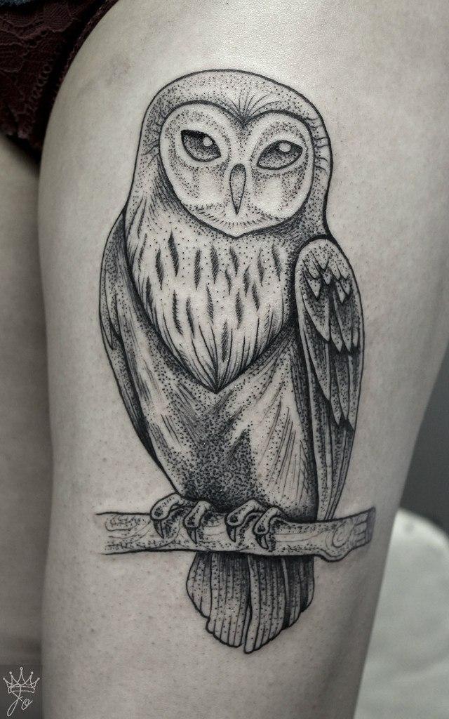 Художественная татуировка «Сова». Мастер Ксения Jokris  Соколова.