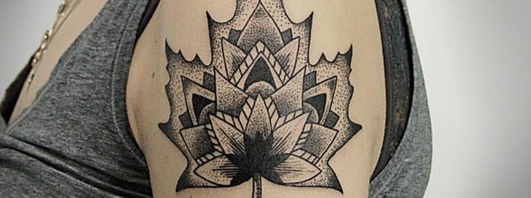 Художественная татуировка «Листик». Мастер Инесса Кефир.