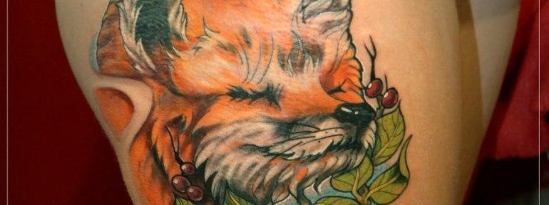 Художественная татуировка «Лиса». Мастер Мария Скляр.