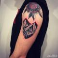 Художественная татуировка «Горы». Мастер Денис Марахин. По собственному эскизу. Расположение: плечо. Время работы: 2,5 часа.