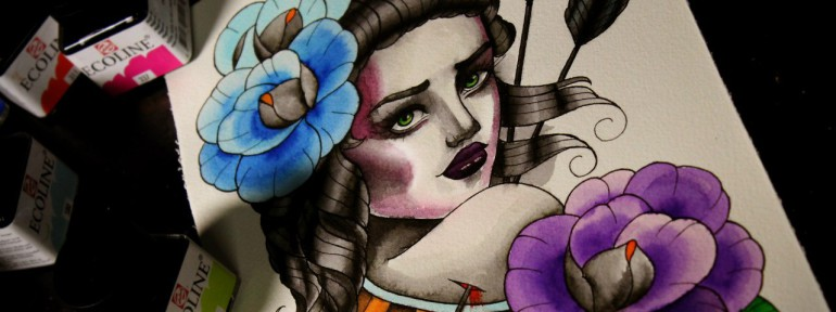 Свободный эскиз «Девушка со стрелами» от мастера Нияза Фахриева.