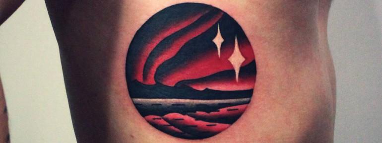 Художественная татуировка «Пейзаж». Мастер Денис Марахин.