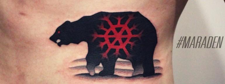 Художественная татуировка «Медведь». Мастер Денис Марахин.
