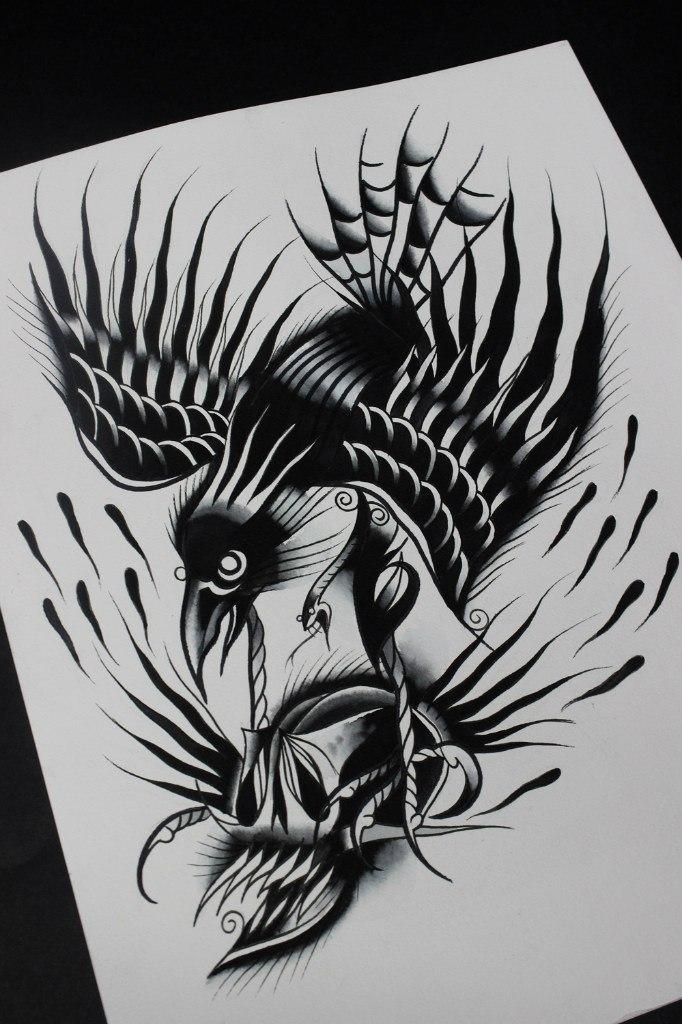 Свободный эскиз «Ворон с черепом» от мастера художественной татуировки Вовы Snoop'a.