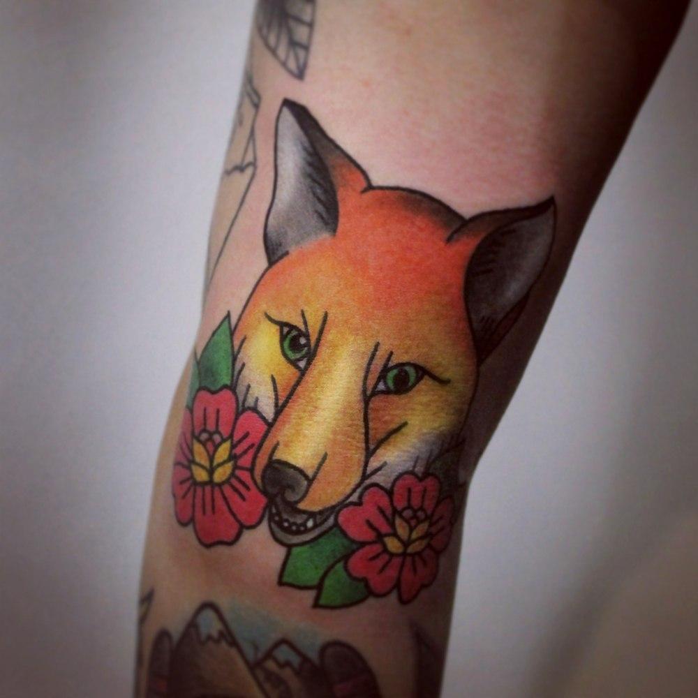 Художественная татуировка «Лиса». Мастер Настя Стриж. По собственному дизайну. Расположение: плечо. Время работы 2,5 часа.