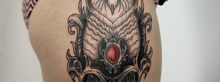 Художественная татуировка «Сова». Мастер Инесса Кефир.