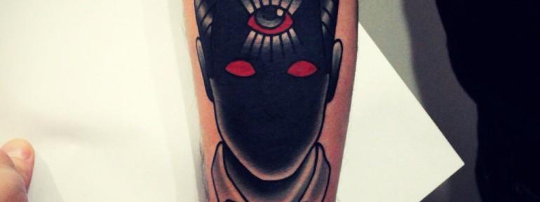 Художественная татуировка «Лицо». Мастер Денис Марахин.