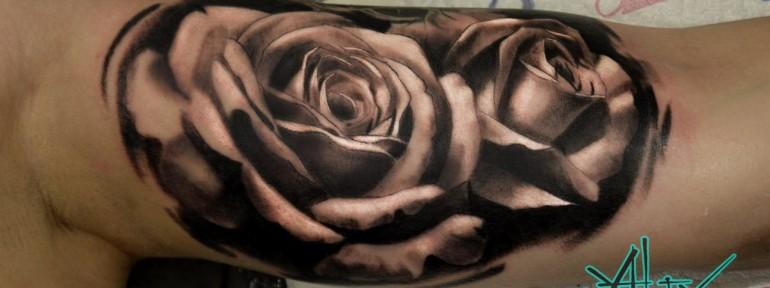 Художественная татуировка «Розы» от Александра Морозова