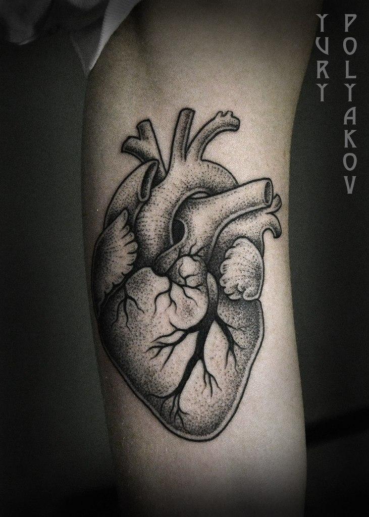 Художественная татуировка «Сердце» от Юрия Полякова