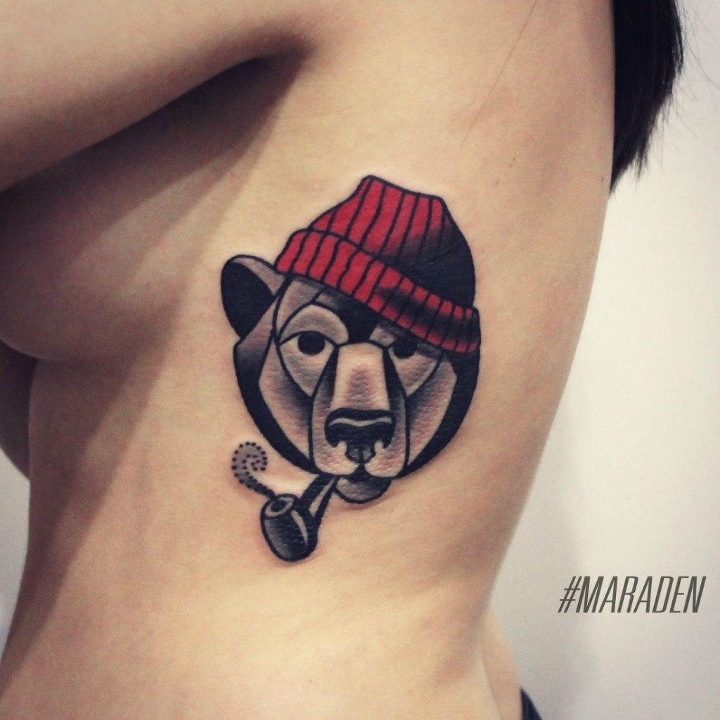 Художественная татуировка «Медведь». Мастер — Денис Марахин. Расположение — ребра. Время работы — 3 часа. По собственному эскизу.