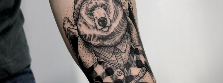 Художественная татуировка «Медведь». Мастер — Инесса Кефир.