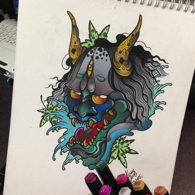 Свободный эскиз «Ханайская маска» от мастера художественной татуировки Мадины Mary Jane