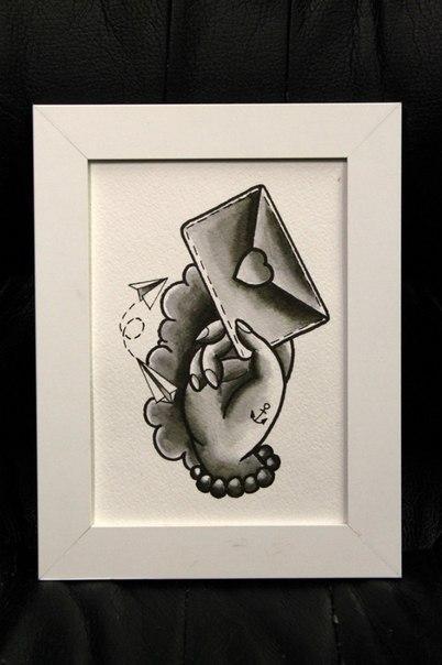 Свободный эскиз «Рука с любовным посланием» от Нияза Фахриева по отличному прайсу :)