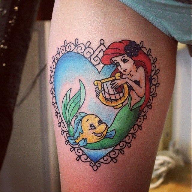 Художественная татуировка «Ариэль». Мастер — Настя Стриж.