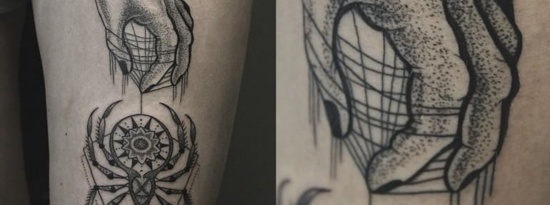 Художественная татуировка «Рука с пауком». Мастер Ксения Jokris Соколова.