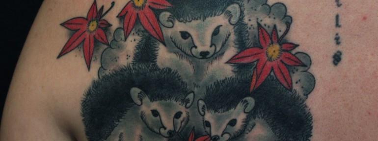 Художественная татуировка «Ежики» от Данилы-Мастера