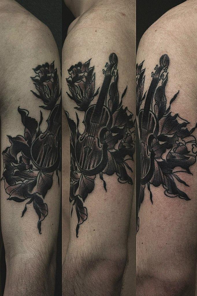 Художественная татуировка «Виолончель» от Валеры Моргунова