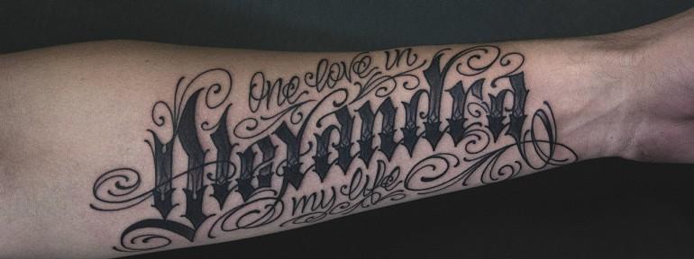 Художественная татуировка «One Love» от Валеры Моргунова