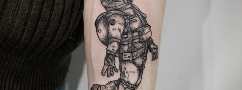 Художественная татуировка «Космонавт». Мастер — Инесса Кефир.