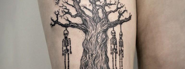 Художественная татуировка «Дерево». Мастер — Инесса Кефир