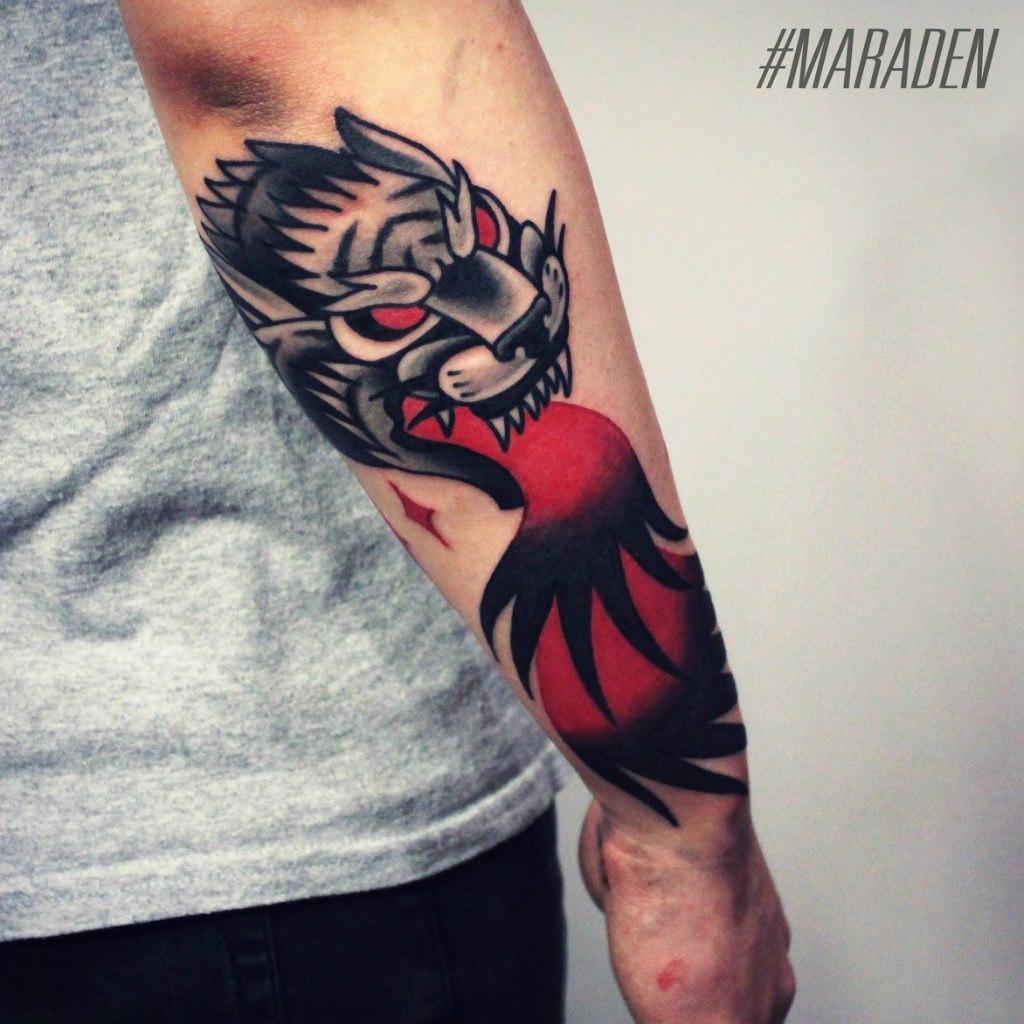 Художественная татуировка «Тигр». Мастер — Денис Марахин. Расположение — предплечье. Время работы — 3 часа. По собственному эскизу.